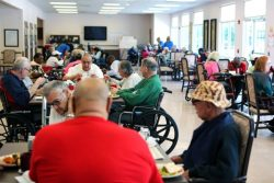 Members enjoy the company in a Senior LIFE Health and Wellness Center.